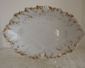 Antique White & Gold Ironstone, Ornamented Oval Bowl, With Leaves And Grapes, Ironstone Lover, Circa 1860