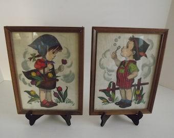 Hansel & Gretel Colored Drawings Circa 1940's Nursery Decor Children's Decor, Nursery Decor, Children's Reading Room