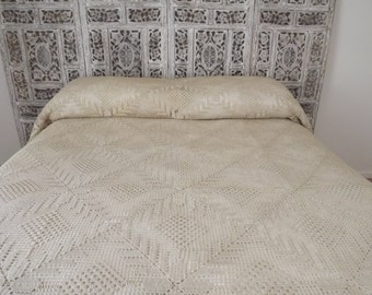 Vintage French Bedding, Handmade, Bedding With Open Pillow Sham, French Country, Shabby Chic, Paris Apartment, Circa 1940's