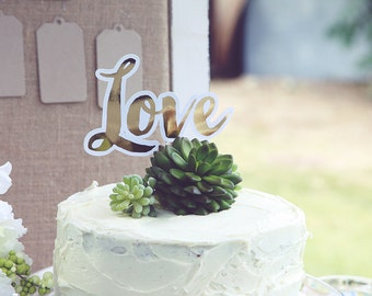 Love Wedding Cake Topper, Cake Topper, Gold, Bridal Shower Cake Topper