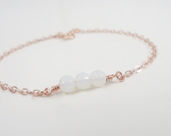 Dainty Bracelet - Simple Everyday Jewelry - Sterling Silver, Gold Filled or Rose Gold - Glass Sea Opal Bracelet - Minimal - Everyday jewelry