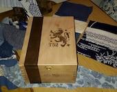 Wooden Cigar Box Lion Crest Chest Large & Deep Treasure Storage Gift