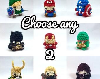 "CHOOSE ANY 2 PDF Patterns Amigurumi Keychain Miniature Doll ""Pod People"""