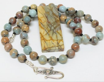 Jasper Slab Pendant Necklace with multicolored natural Amazonite River Stone Beads Pale Blue, Rust, Tan colors