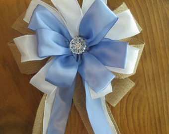 Burlap Pew Bows, Satin Pew Bows, Pew Bows, Wedding Pew Bows, Blue Pew  Bows, Bridal Shower Bow, Wreath Bow, Party Decoration