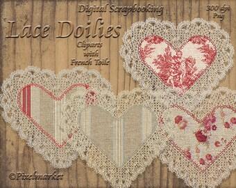 French Toile Doilies Heart ClipArts Realistic Lace Doilies Toile Fabric Applique Burlap Texture Printable Download Scrapbooking Web Blog e16