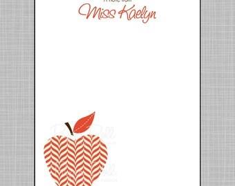 Teacher Notepad - Red Herringbone Apples - Assorted Colors - Personalized Custom Notepads - Teacher Gift - Kaelyn.