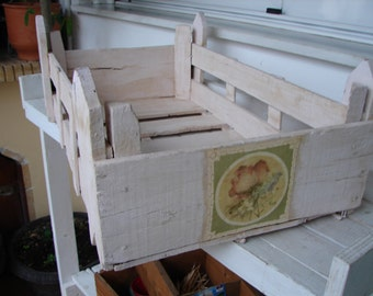 1950's pink painted,French wooden stacking crate with floral labels,storage/bedside/bookcase