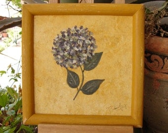 vintage hydrangea flower, floral acrylic watercolor painting on wood in distressed ochre painted wooden frame, ready to hang.