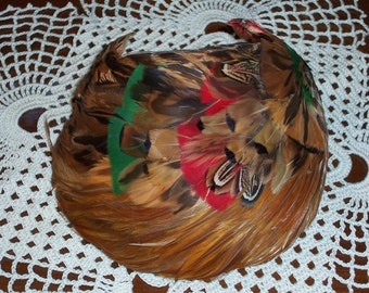 Valerie Modes Ladies Pheasant Feather Hat....Brown Pheasant Feathers with Reds and Greens....Vintage Pheasant Feathers Hat...