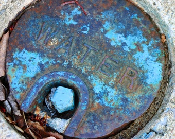 Urban chic water cap cover photography, abstract, graphic ,turquoise, textured, city grit, street art,round