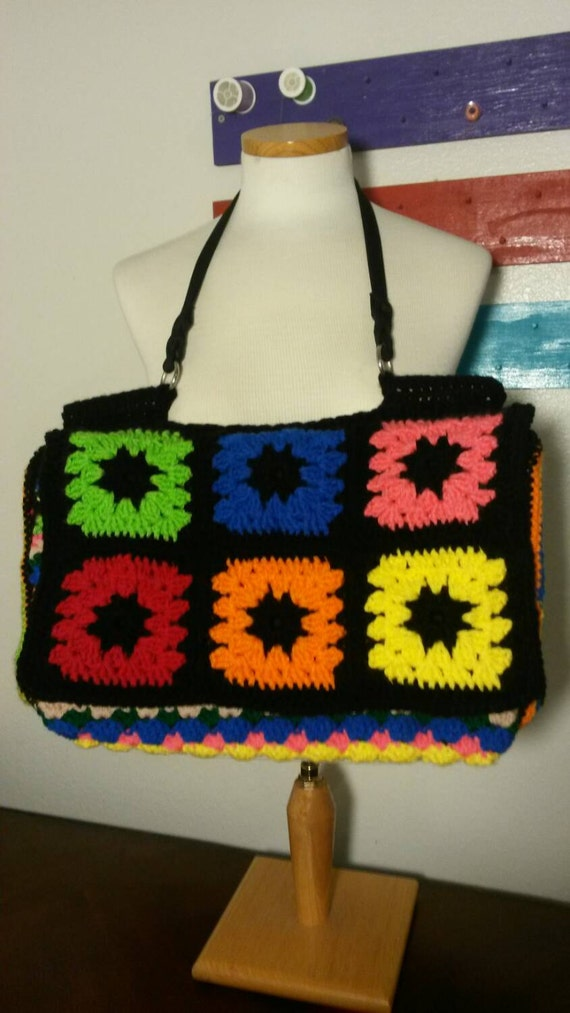 Handbag crochet granny square handbag. Tote bag by Jennyspurses