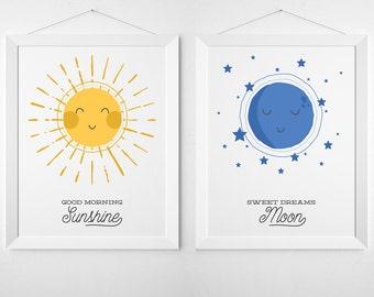 Sun and Moon Print Set - Modern nursery art, colorful art print, nursery decor, kids wall art, child decor, modern playroom art, blue yellow