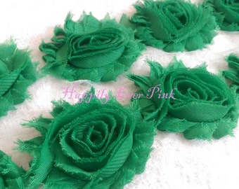1 YD., Emerald Green Shabby Flower Trim, Crafting Supplies, Chiffon Rosettes, Wholesale Flowers, DIY, Newborn Headband