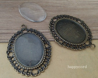 6pcs 30mmx40mm antique bronze Pendant tray base with glass
