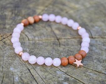 Stars & Roses. Pretty Rose Quartz Karma Bracelet.