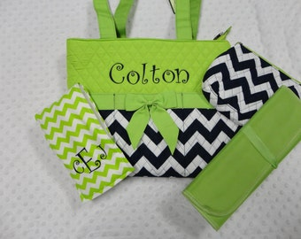 PERSONALIZED 4 Piece Chevron Diaper Bag Set with Name - Baby Girl Or Boy Navy and Lime Green Chevron Monogrammed Diaper Bag Set Changing Pad