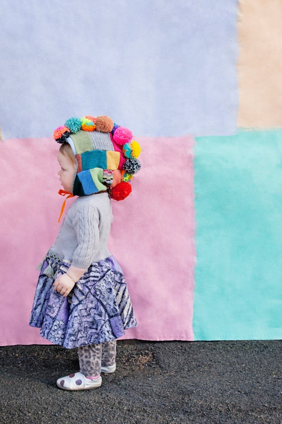 POM Kids 3-5 Years Childrens Cashmere and Wool Mohican Pom Pom Bonnet Lined Neon Ribbon Bobble Hat  Unisex