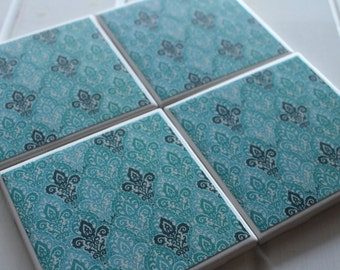 Fancy Teal Coasters Four Piece Ceramic Tile Set
