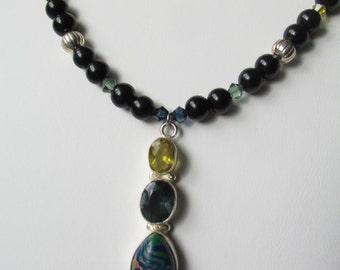 Citrine, Smokey Blue Quartz, and Azurite Necklace
