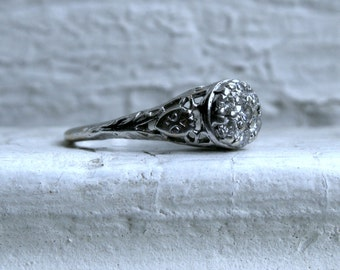 Antique Platinum Diamond Cluster Engagement Ring - 0.45ct.