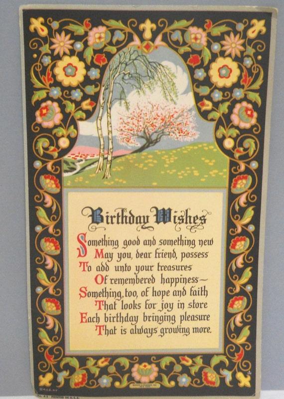 Items Similar To Antique Birthday Card, Motto Print, Art