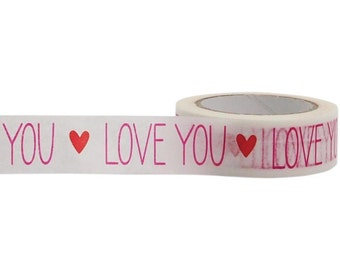 Love You Washi Tape, 15mm x 10m, with Cutter by Little B