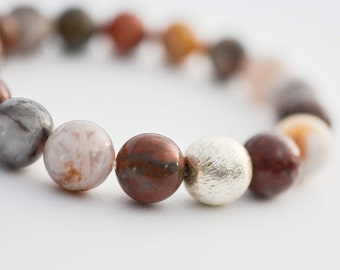 Bamboo Agate Bracelet, Natural Gemstone Bracelet, Brushed Sterling Silver Bracelet, Stackable Beaded Bracelet, Healing Stone Jewelry, Gifts