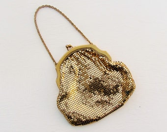 Vintage gold mesh purse, 1940's Whiting and Davis small size evening bag, gold wedding purse