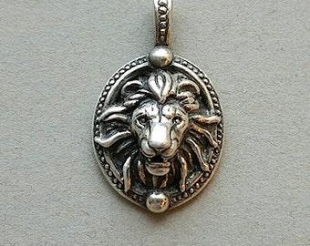 lion head sterling silver pendant
