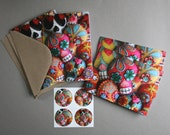 Embroidered Sugar Skull Notecard Set- Set of 4 with matching stickers
