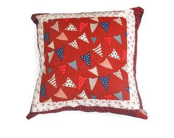 Patriotic pillow, Stars and Stripes pillow, Nautical throw pillow cover, Red, white and blue pillow,  July 4th decor, Patriotic pillow cover