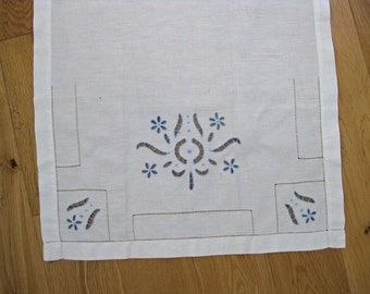 French linen curtain panel with blue cutwork embroidery