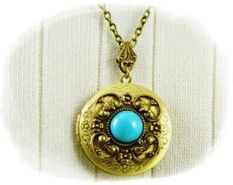 Locket, Necklace, Locket Necklace, Turquoise Locket, Turquoise necklace, Antique Brass Locket