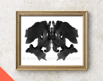 Printable Art (INSTANT DOWNLOAD) Rorschach ink blot, Rorschach stains, psychology, gift for psychologist, psych student, wall decor.