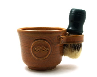 Mustache Shaving Mug, Brown Ceramic Moustache Shave Cup - Brush NOT Included - Ready to Ship Wet Shaving Fathers Day Husband Gift