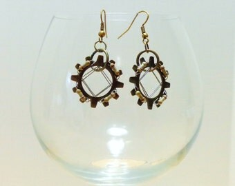 Antique Gold Tone Gear and Resistor Earrings
