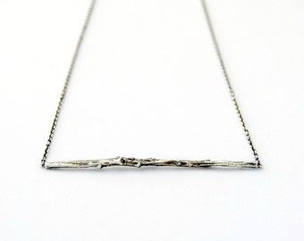 Twig bar necklace sterling silver branch necklace bar necklace