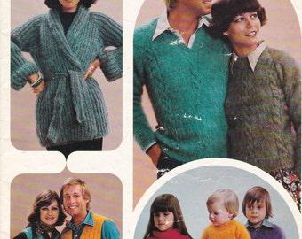 Patons Knitting Pattern Family Cottage Knit  Vintage 1970's No 473