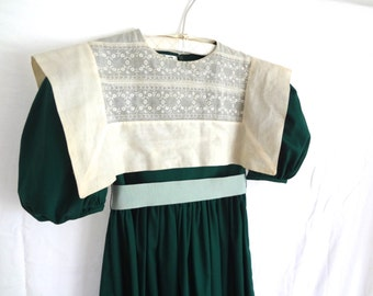 Vintage Girls Dress Green Holiday Size 7 Christmas Chanukah Thanksgiving