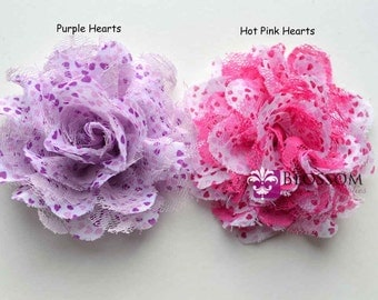 VALENTINE Heart Flowers - The Charlotte Collection - Shabby Chiffon and Lace Puff Flowers - DIY Headbands Fabric Flower Head Blossom Crafts