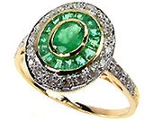 RESERVED for nicolelorenzo2 - Art Deco Vintage 14k Solid Yellow Gold Sapphire & Emerald Ring, Diamond Ring - Custom R74