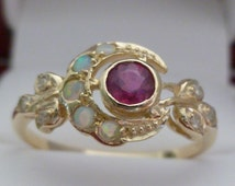 Ruby Ring, Gold Ruby and Opal Ring, Diamond Antique Moon Ring, R25, Custom