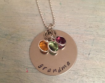 Grandma Necklace. Hand stamped necklace. Gift for grandma. Birthstone Jewelry. Personalized Jewelry. Mother's Day gift. Family Necklace