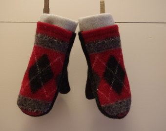 Fleece Lined Upcycled/ Recycled Wool Children's Mittens, size 5-7