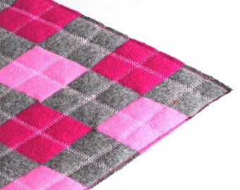 Argyle Table  Runner -  Upcycled Wool Felt - Pink and Grey