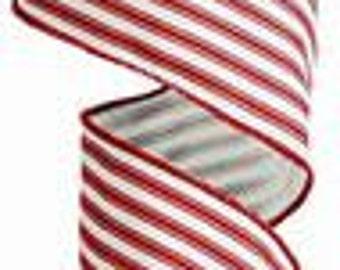 "Red and Cream Ticking Stripe Ribbon - 2.5"" x 10yds : RA12226W"