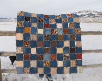 Browns and blues throw size denim rag quilt