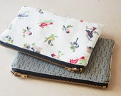 Vintage Bird Fabric Coin Pouch