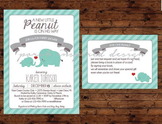 elephant themed baby shower invitation set by porchinspireddesign